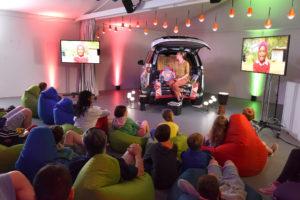 Veronica Lamond inside the Storytelling Nook for Jaguar Land Rover at the Hay Festival.