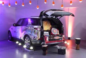 Ben Saunders inside the Storytelling Nook for Jaguar Land Rover at the Hay Festival.