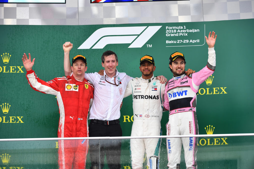 www.sutton-images.com (L to R): Kimi Raikkonen (FIN) Ferrari, Lewis Hamilton (GBR) Mercedes-AMG F1 and Sergio Perez (MEX) Force India celebrate on the podium at Formula One World Championship, Rd4, Azerbaijan Grand Prix, Race, Baku City Circuit, Baku, Azerbaijan, Sunday 29 April 2018.