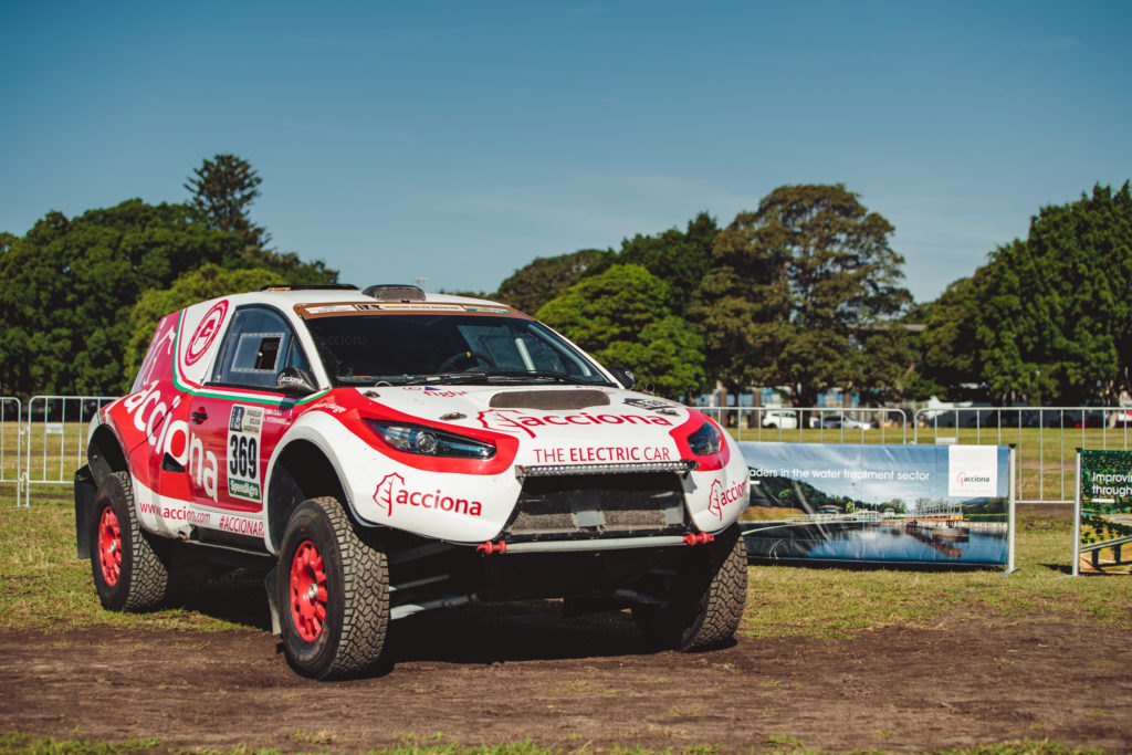 Acciona EcoPowered rally car on display in Sydney